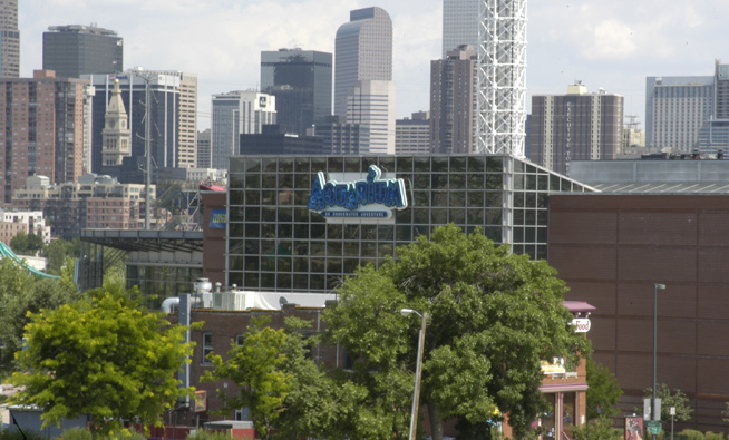 Shot of Denver aquarium from a distance