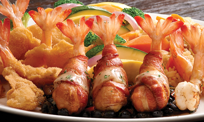 Bacon wrapped jumbo shrimp